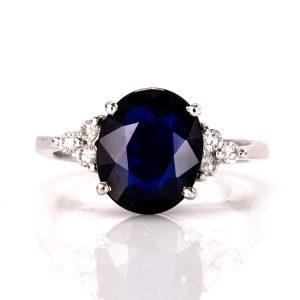 Elegant Dark Blue Sapphire Ring – B14344