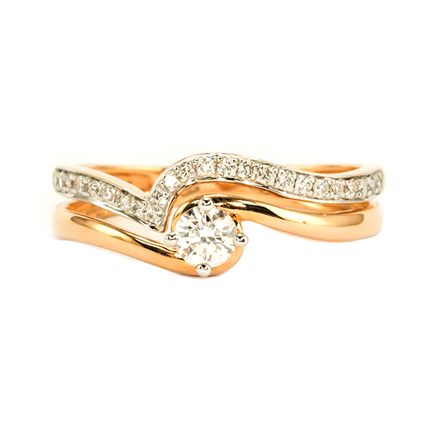twin rose gold ring