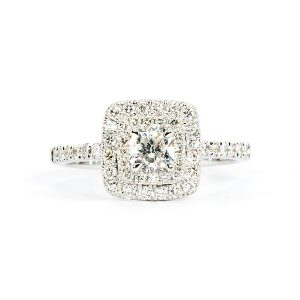 cushion hallo diamond ring