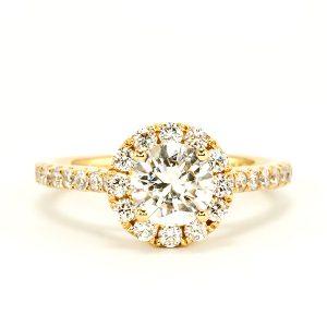 solitaire hallo diamond ring