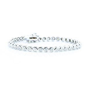 Bezel Setting Diamond Tennis Bracelet