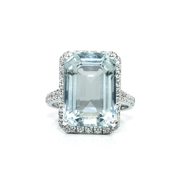 March Birthstone Diamond Ring