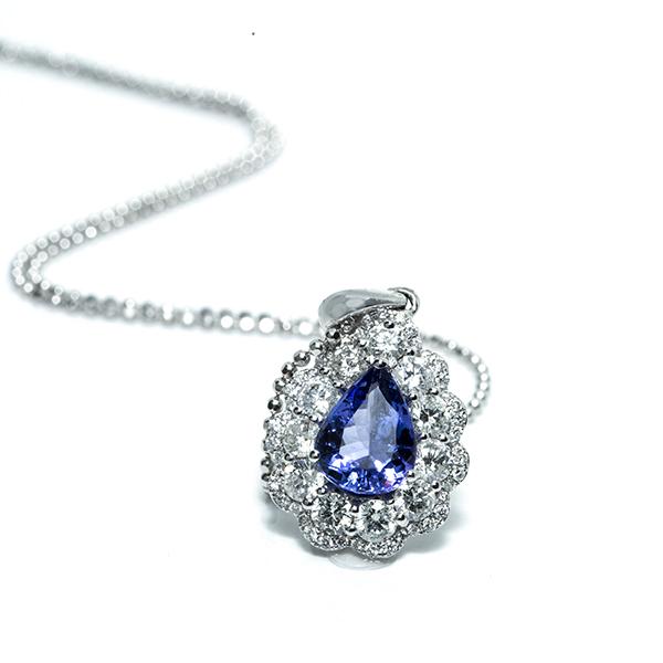 Diamond and Blue Topaz Pendant