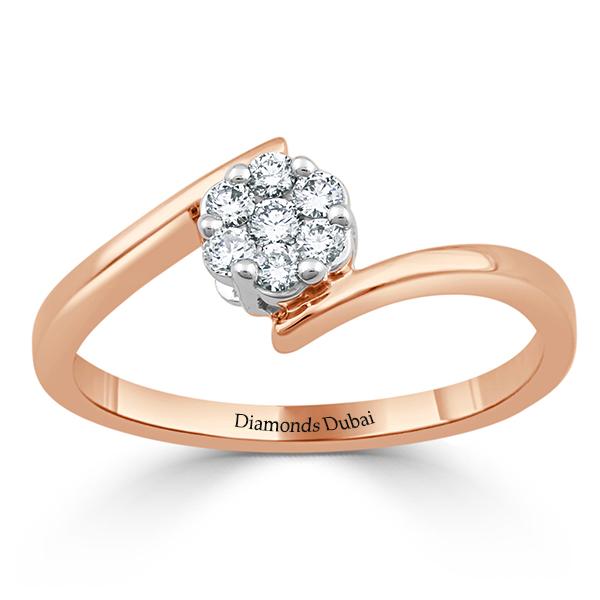 twisted flower diamond ring