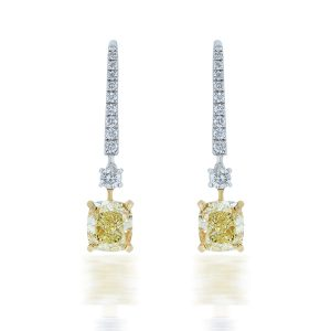 Cushion Shape Yellow Diamond Earrings