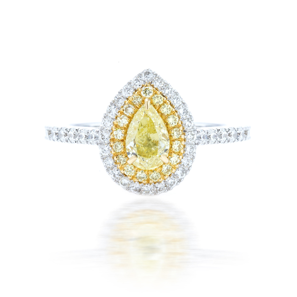 Fancy Pear Shape Yellow Diamond Ring