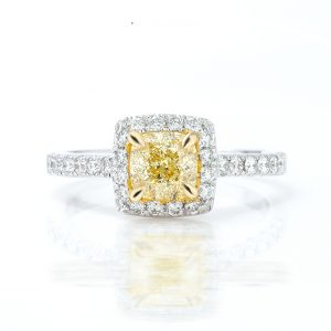 Cushion Yellow Diamond Ring