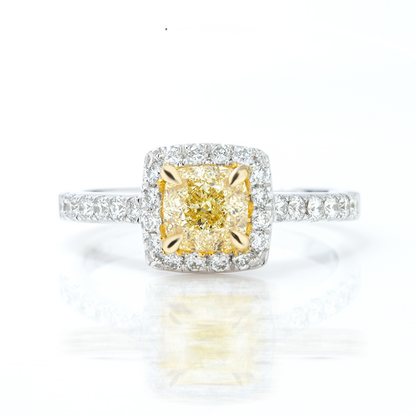 Cushion Yellow Diamond Ring
