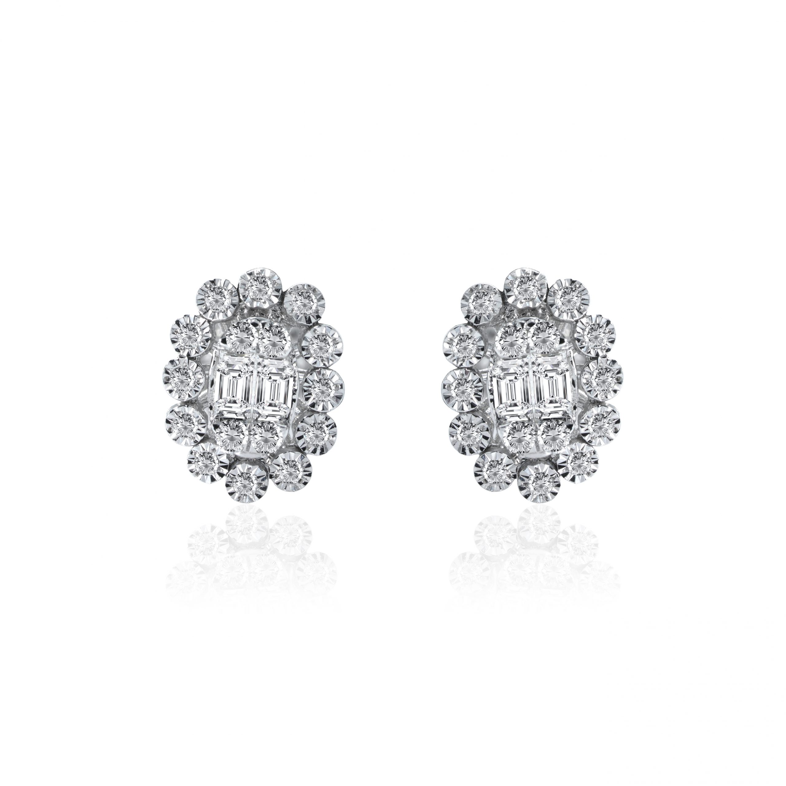 oval cluster diamond earrings