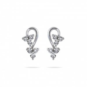 three diamond earrings