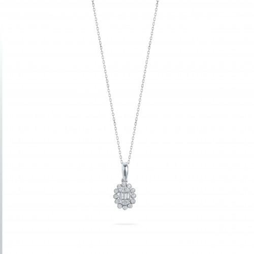 Oval Cluster Diamond Necklace