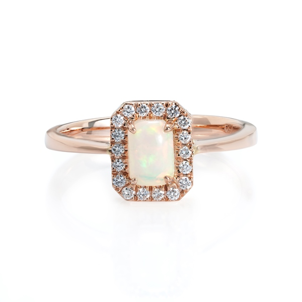 Emerald Cut Opal Diamond Ring