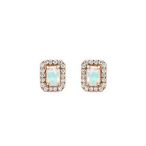 Emerald Cut Opal Earrings