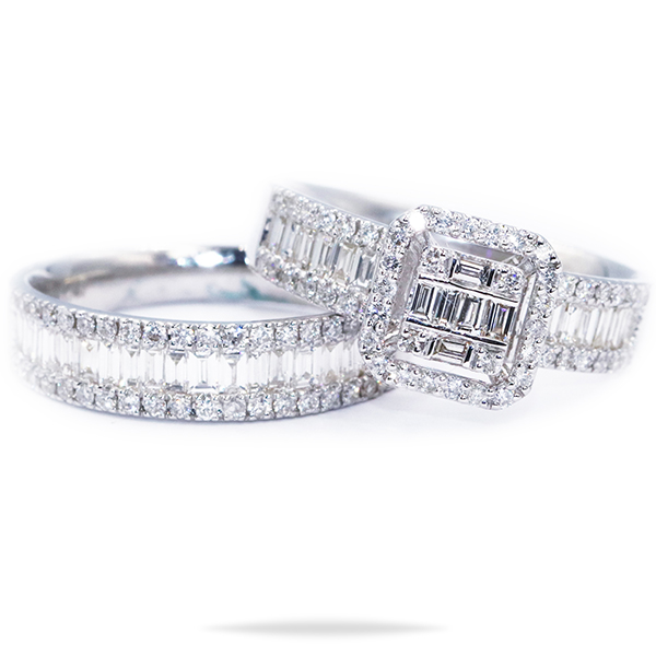 white gold twin rings