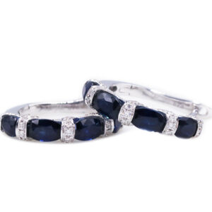 Oval Sapphire Hoop Earrings
